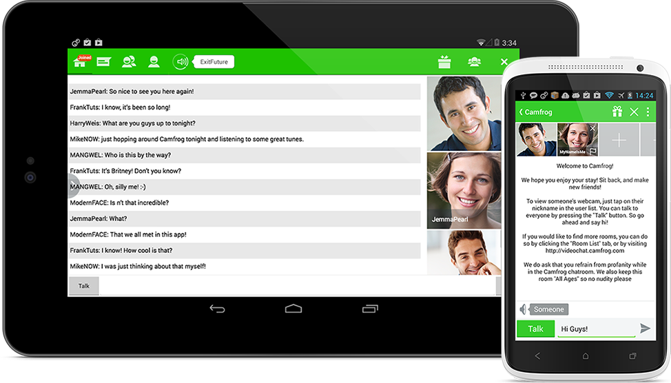 Online video chat room app